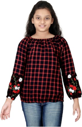 N-TWENTY Girl Cotton Checked Top - Red