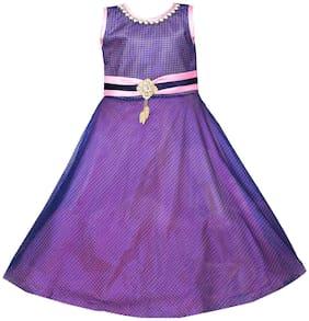 Silver Kraft Purple Net Sleeveless Above Knee Princess Frock ( Pack of 1 )
