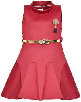 Silver Kraft Red Polyester Sleeveless Knee Length Princess Frock ( Pack of 1 )