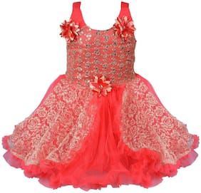 Silver Kraft Red Net Sleeveless Knee Length Princess Frock ( Pack of 1 )