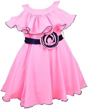 Silver Kraft Pink Nylon Sleeveless Knee Length Princess Frock ( Pack of 1 )