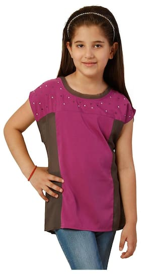 Oxolloxo Girl Polyester Solid Top - Pink