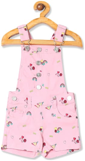 CHEROKEE Cotton blend Printed Dungaree For Girl - Pink