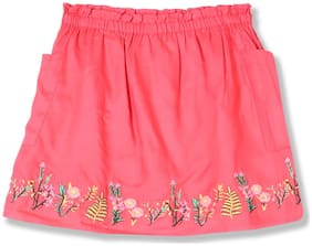 CHEROKEE Girl Viscose Embroidered A- line skirt - Pink