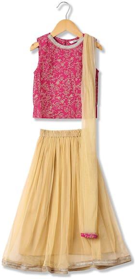 Karigari Girl's Cotton Embellished Sleeveless Kurti & salwar set - Multi