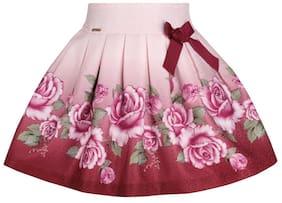 Cutecumber Girl Blended Printed Flared Skirt Skirt - Maroon