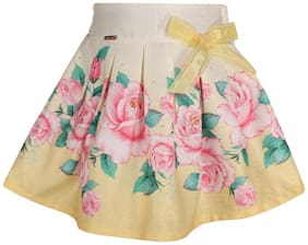 Cutecumber Girl Blended Printed Flared skirt - Yellow