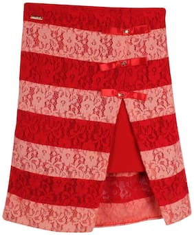 Cutecumber Girl Georgette Embellished Flared skirt - Red