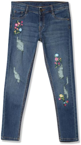 Girls Slim Fit Distressed Jeans