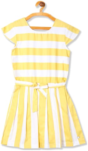 U.S. Polo Assn. Yellow Cotton Short Sleeves Knee Length Princess Frock ( Pack of 1 )