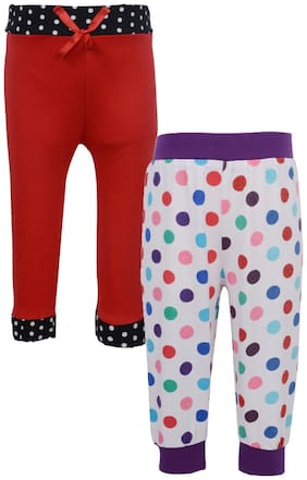 Gkidz Infants Pack of 2 Multi Polka dot Printed and Solid Jogger