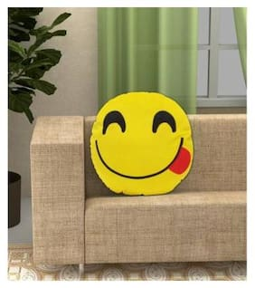 Gking Gift Bakset Polyester Fibre Smiley Cushion Pack of 1