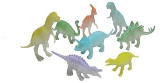 Shanaya Glow In The Dark Dinosuar Action Figures Set Of 8 (Multicolor)