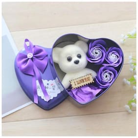 GLOWTRONIX Valentine Teddy Bear Heart Shaped Artificial Rose And Teddy Bear Girlfriend Delicate Color Soap Flower Big Bowknot Gift