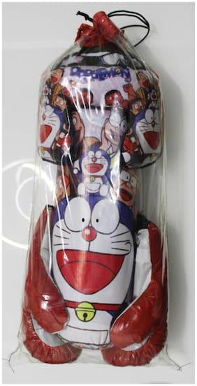 GLS Kids (4 Yrs - 10 Yrs) Doraemon Red Boxing Kit - 1 Punching Bag 1 - Head Security Gear 2 - Boxing Gloves
