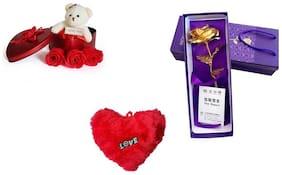 GLUCKLICH GIFT PACK ,RETURN GIFT,LOVER GIFT,ANNIVERSAY GIFT,BIRTHDAY GIFT,VALENTINE GIFT,RED,GOLDEN,PACK OF 3