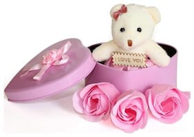 GLUCKLICH HEART SHAPED BOX WITH TEDDY AND ROSES ARTIFICIAL FLOWER,SOFT TOY VALENTINES GIFT SET (PACK OF 1 PINK)