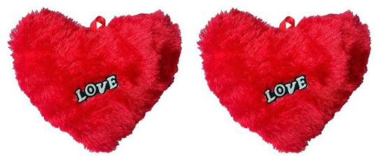 GLUCKLICH SET OF 2 pcs RED COLOR HEART SHAPE LOVE TICKLE SOft COTTON TEDDY BEAR CUSHION PILLOW ANNIVERSARY BIRTHDAY VALENTINE FRIEND GIft  PACK OF 2,R