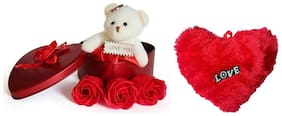 GLUCKLICH VALENTINE GIFT PACK,TEDDY WITH HEART SHAPE DIL ,LOVER GIFT,RETURN  GIFT,RED,PACK OF 2