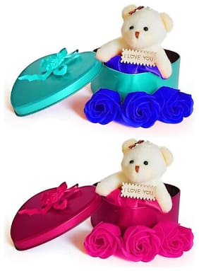 GLUCKLICH VALENTINE'SDAY TEDDY AND ROSE GIFT BOX BEST N UNIQUE GIFT FOR LOVE ONES COMBO PACK OF 2