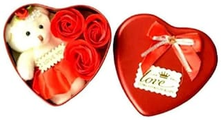 GLUCKLICH VALENTINE'S DAY GIFT BOX HEART SHAPE BOX WITH TEDDY AND ROSES FOR YOUR LOVER (PACK OF 1 RED)