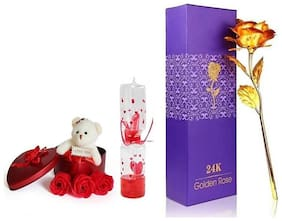 GLUCKLICH VALENTINE'S DAY GIFT THREE ROSES WITH TEDDY BOX,A UNIQUE GOLDEN ROSE FLOWER GIFT FOR LOVE ONES N A LOVE METER VALENTINE GIFT SHOWPIECE(PACK OF 3)