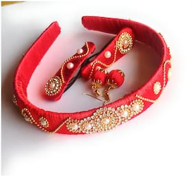Go-For-It Red Colour Silk Thread Hairband ,Hairclips ,Earning (COMBO).