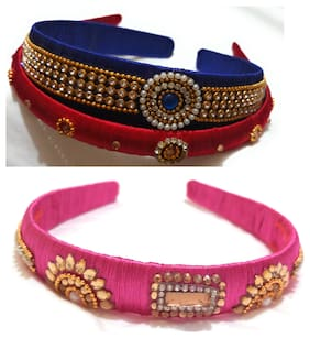 GO-FOR-IT Silk Thread_Blue and Red and pink Hairband for lovely kids.DIWALI SPECIAL COLOUR.