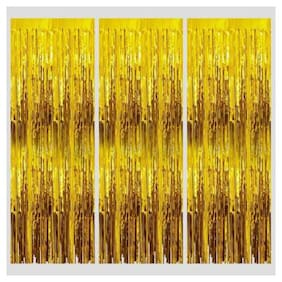 Gold Shiney Foil Curtain for Girls/boys Birthday Decoration;Baby Shower;Bride to Be Decoration Or Birthday Parties Backdrop (pack of 3 )