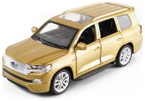 Golden Diecast Metal Toyota Land Cruiser Pull Back Car Toy with Openable Doors, Light and Sound Effects