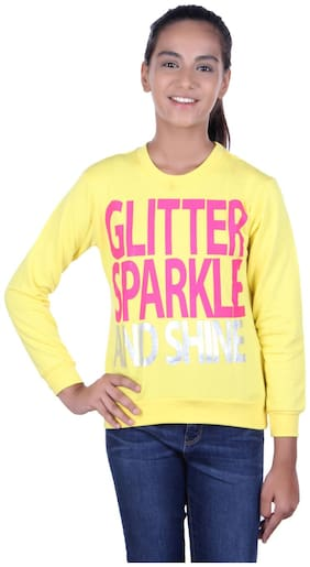 Golfer Girl Cotton Solid Sweatshirt - Yellow