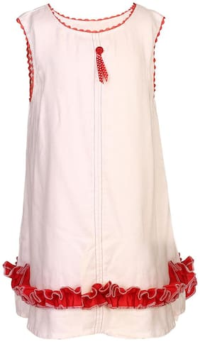 Goodwill White Rayon Sleeveless Knee Length Princess Frock ( Pack of 1 )