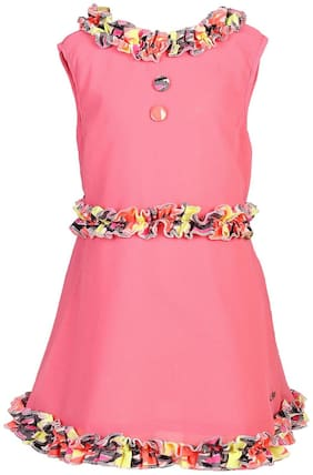 Goodwill Pink Blended Sleeveless Knee Length Princess Frock ( Pack of 1 )