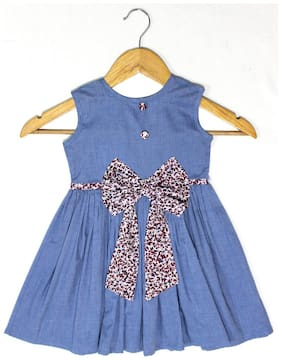 Goodwill Blue Cotton Sleeveless Midi Princess Frock ( Pack of 1 )