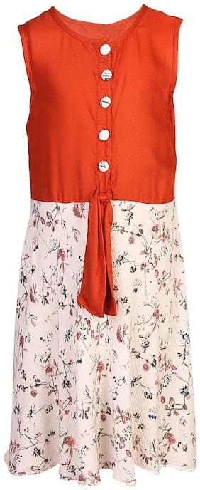 Goodwill Red Rayon Sleeveless Knee Length Princess Frock ( Pack of 1 )