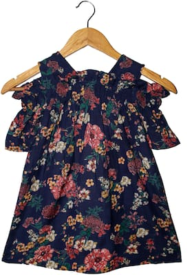 Goodwill Blue Cotton Short Sleeves Above Knee Off Shoulder Frock ( Pack of 1 )