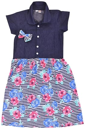 Goodwill Girl's Casual Floral Print Denim Frock