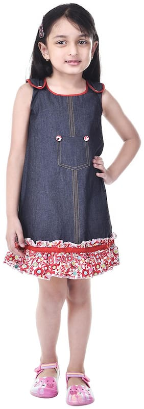Goodwill Blue Denim Sleeveless Midi Princess Frock ( Pack of 1 )