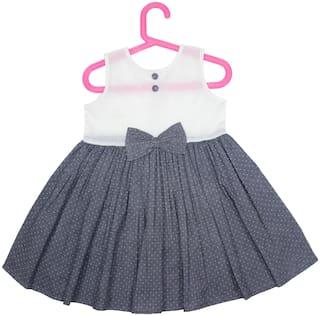 Goodwill Girl'S Casual Grey&White Cotton Net Fabric Polka Dot Frock/Dress