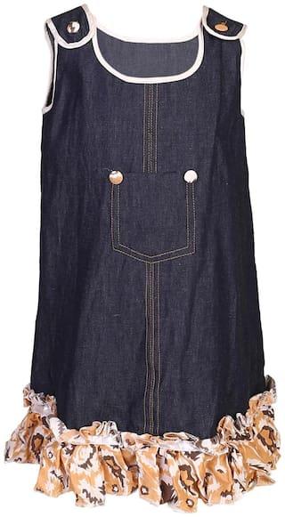 Goodwill Blue Denim Sleeveless Knee Length Princess Frock ( Pack of 1 )
