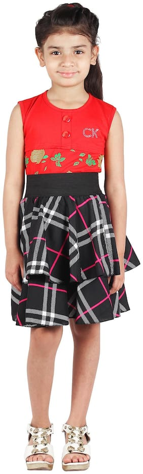 GraceDiva Girl Polyester Checked A- line skirt - Black
