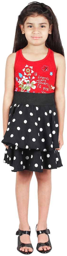 GraceDiva Girl Polyester Polka dots A- line skirt - Black