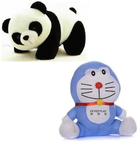 GreenViji Stuffed Soft Plush Toy Kids Black Panda and Doreman Combo