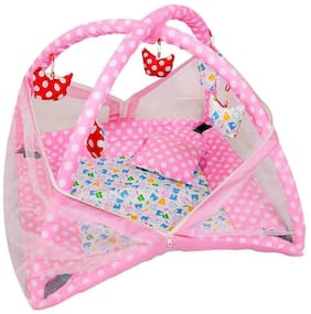 GTC Baby Kick and Play Gym and Baby Bedding Set with Mosquito Net (Pink)