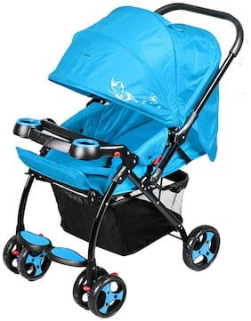 GTC Joy Baby Stroller with 360 deg Rotating Front wheels (Front and Rear wheels with Brakes) -(ITN-702) (Blue)