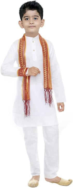 Gudwone Boy Cotton Solid Kurta pyjama set - White