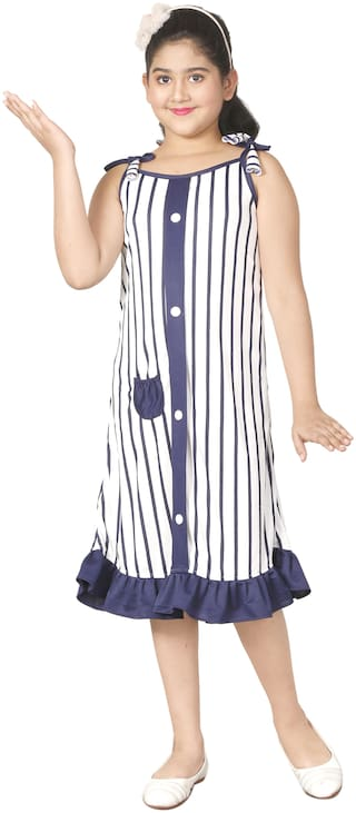 Gudwone Cotton Blend White Striped Princess Frock  For Girl