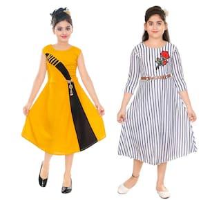 Gudwone Cotton Blend Embellished Golden & White Color Princesss Frock For Girl (Pack of 2)