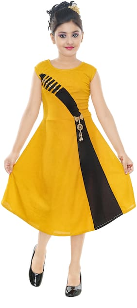 Gudwone Frock And Dresses For Girl( Yellow)