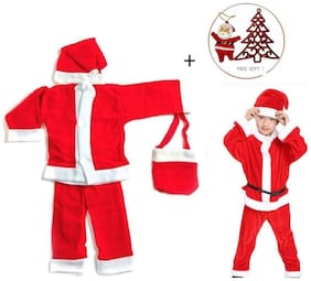 HALO NATION Christmas Dress Santa Claus costume for children (For ages 2 to 4 Years) with Christmas Tree and a cute Santa FIgure